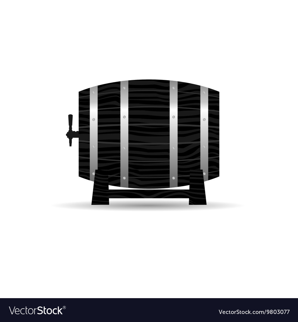 Barrel wooden strong in black color vector image