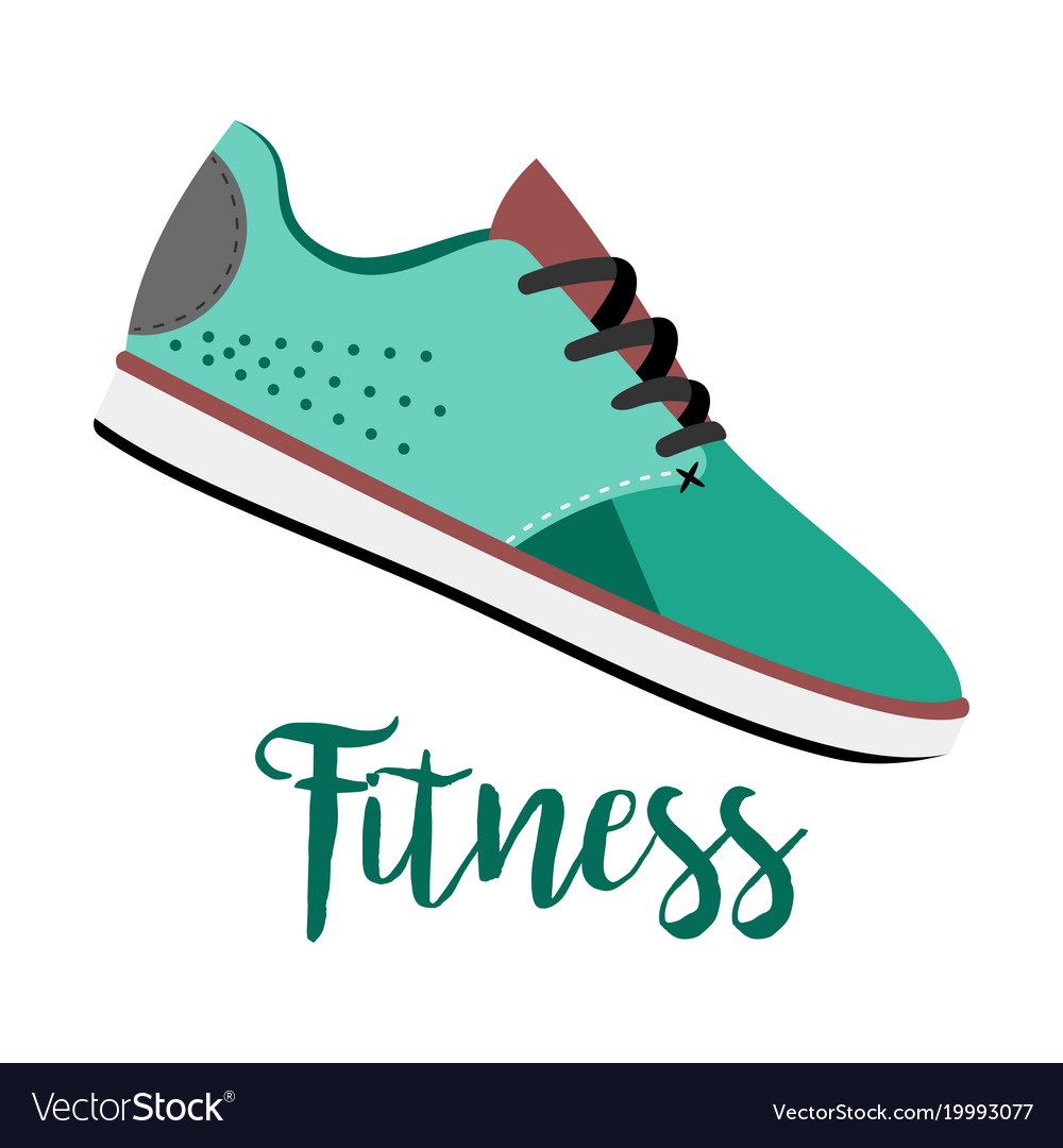 Blue shoes with text fitness
