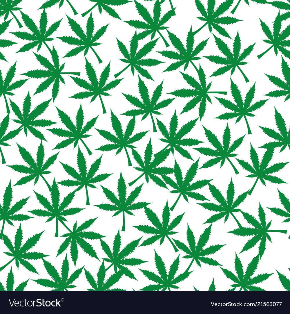 Cannabis plant seamless pattern simple stylized