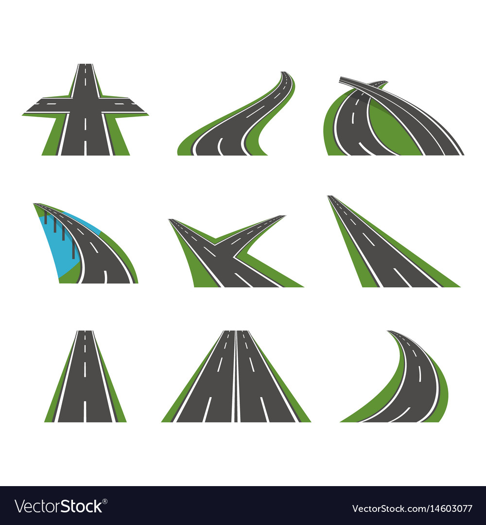 Cartoon perspective curved road icons set vector image