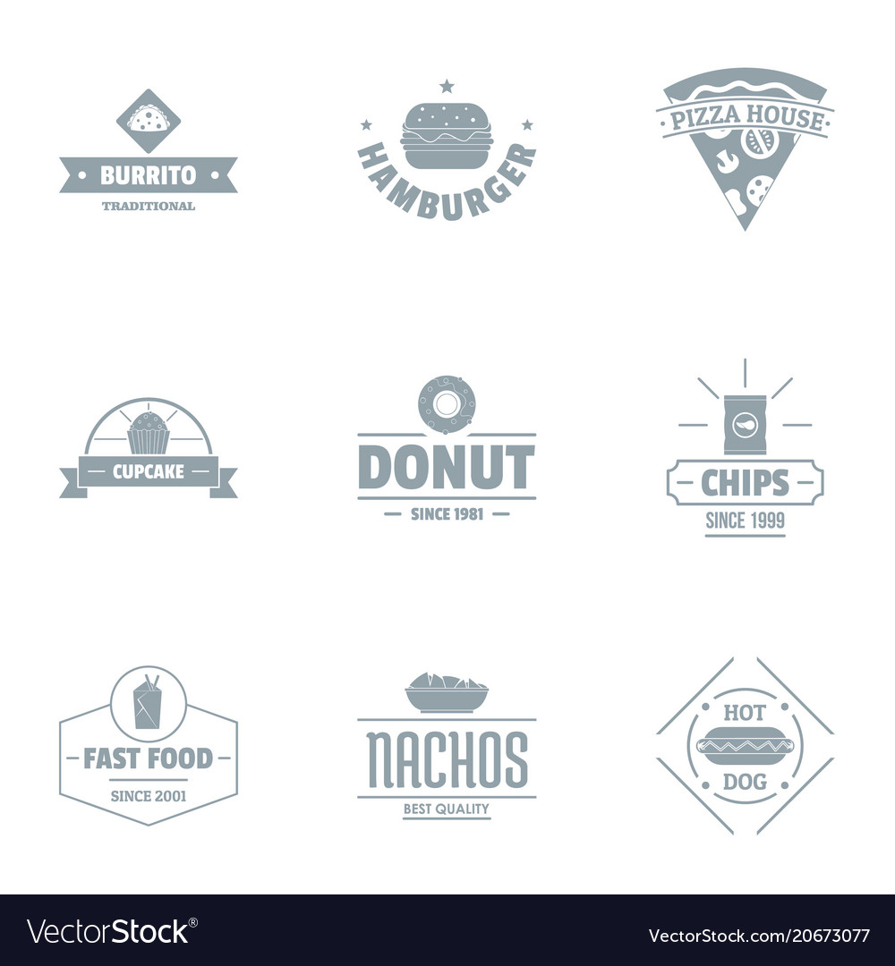 Convenience food logo set simple style vector image