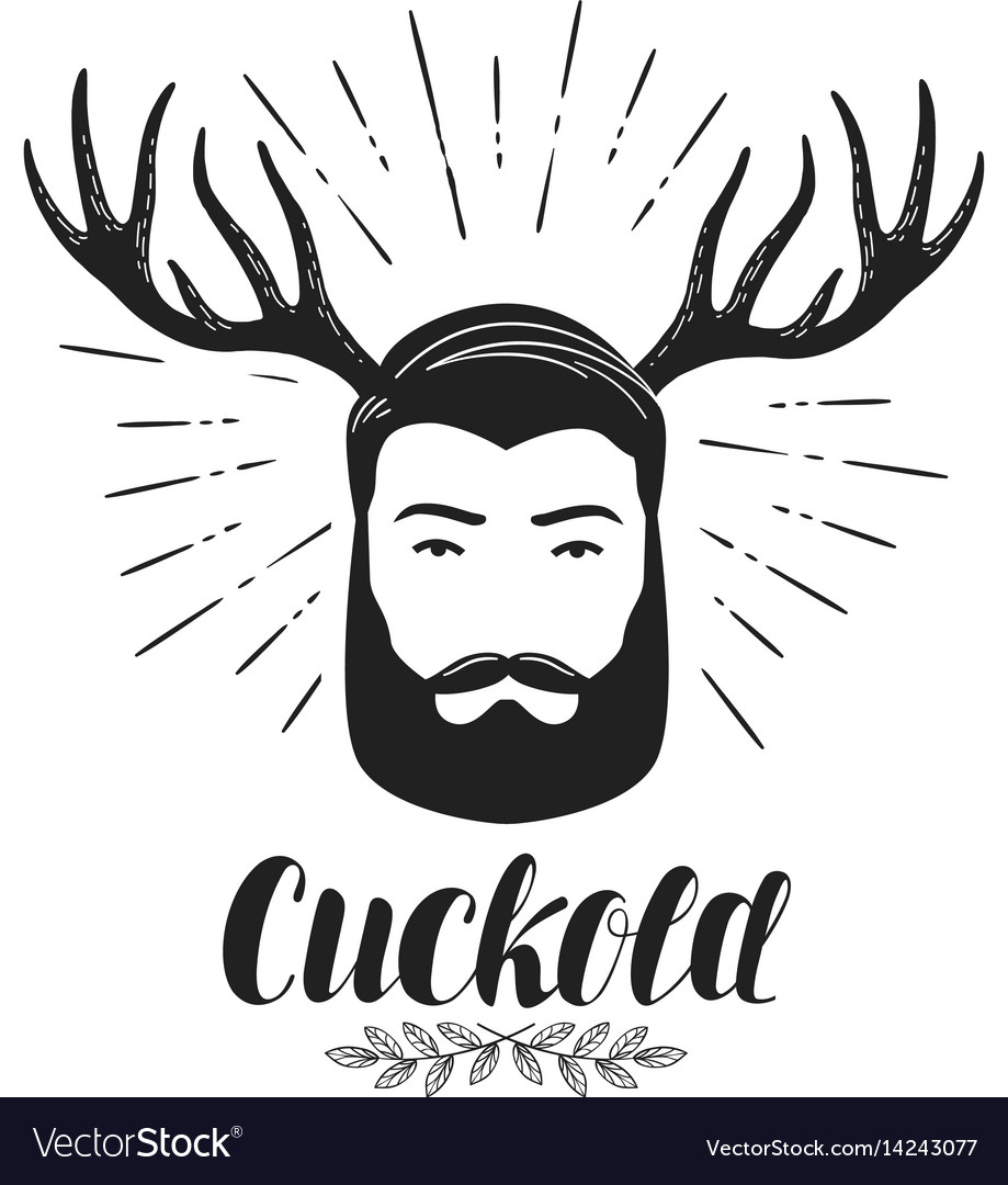 Cuckold icon or symbol bearded man with horns