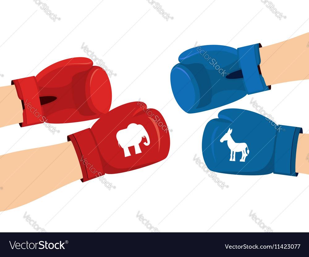 Elephant And Donkey Boxing Gloves Symbols Of Usa Vector Image