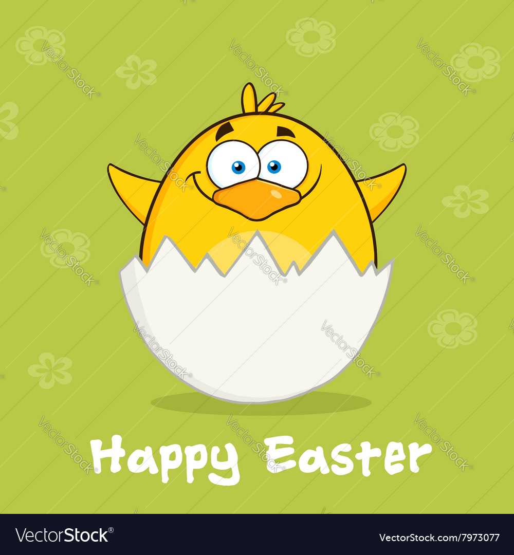 Happy Smiling Easter Chick Cartoon
