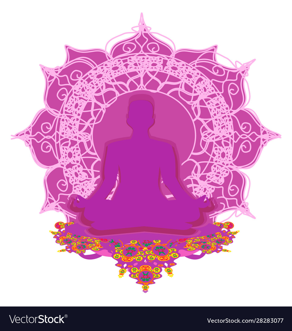 Man Silhouette Meditate Yoga Card Royalty Free Vector Image