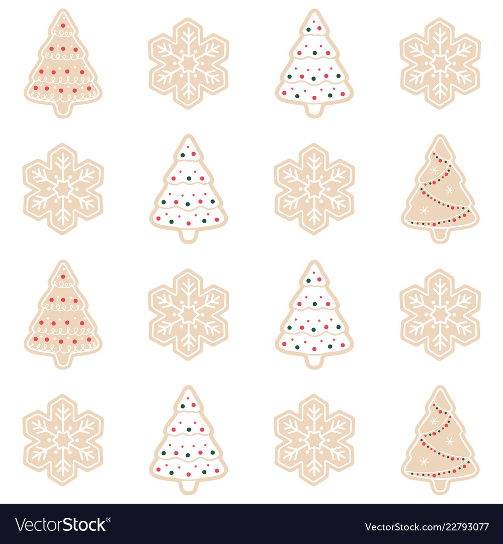 Merry christmas gingerbread pattern background set