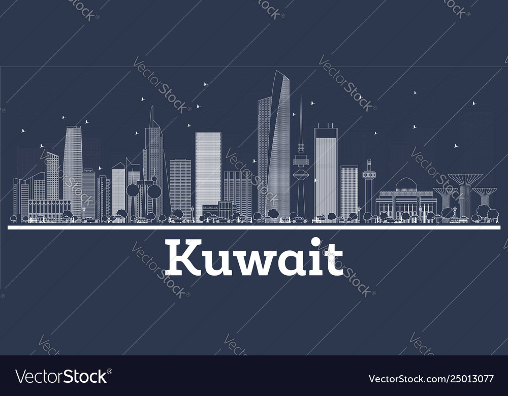 Outline kuwait city skyline with white buildings