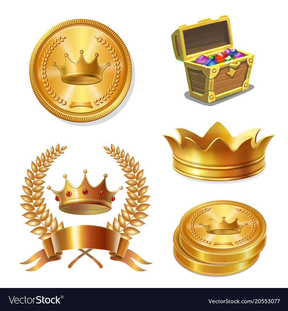Royal golden crowns coins and treasure chest set