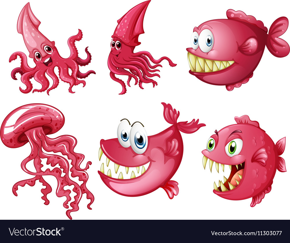 Sea animals in pink color Royalty Free Vector Image