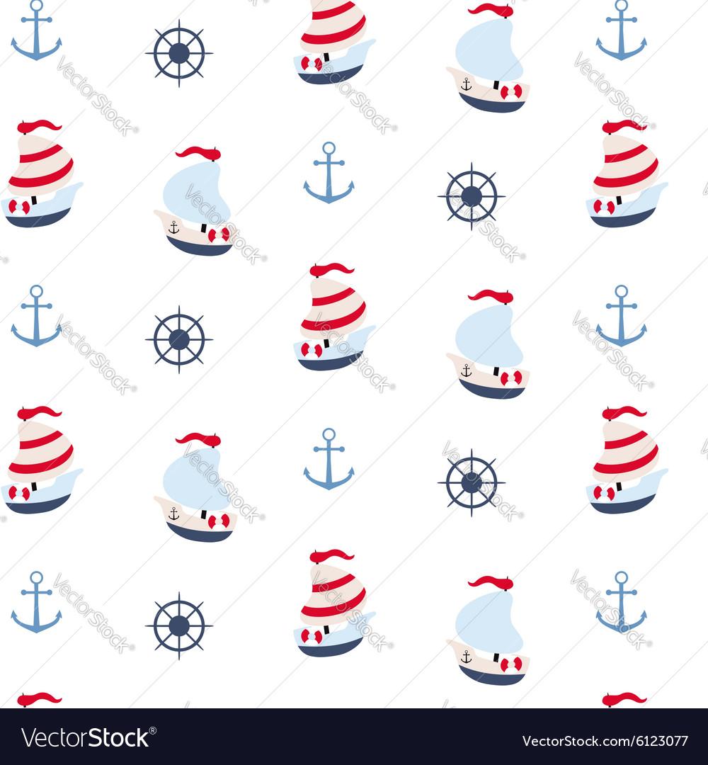 Seamless pattern in marine style