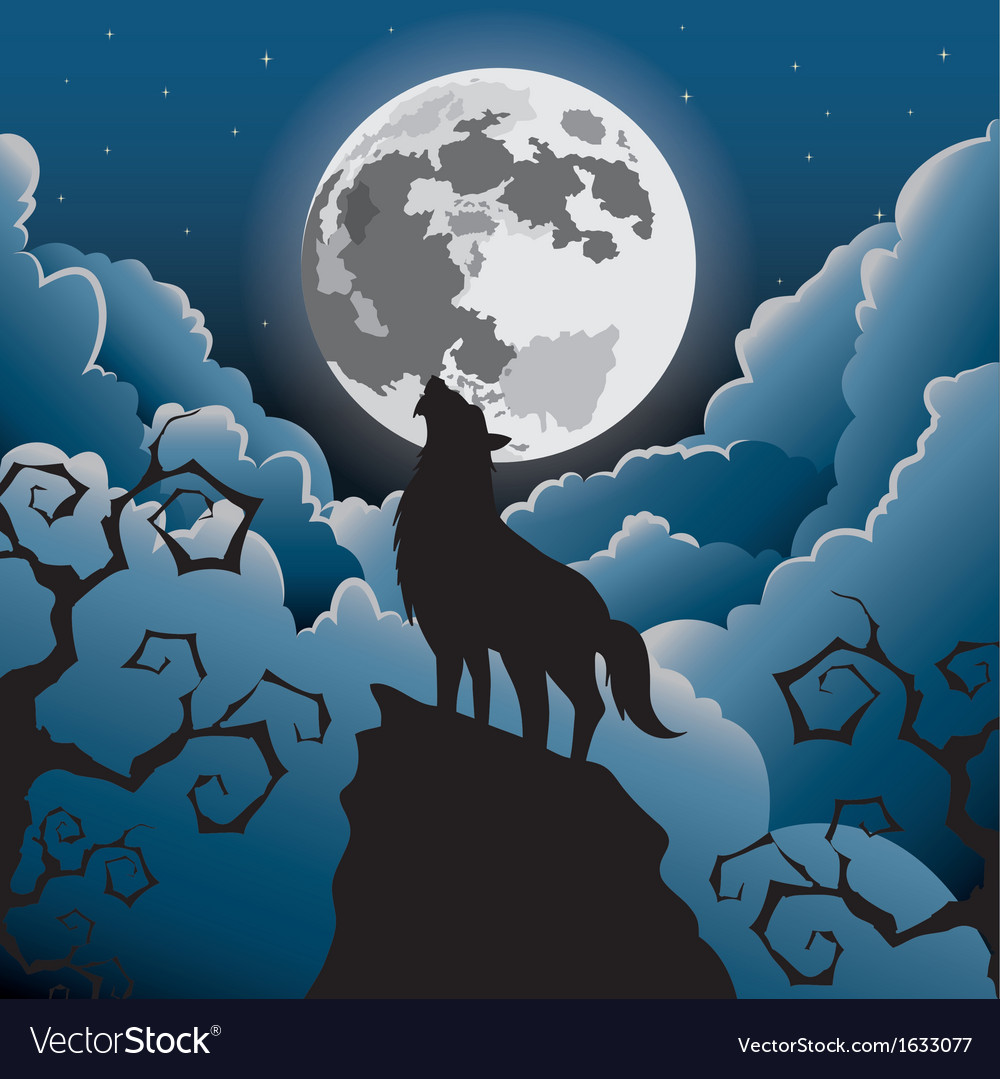 Silhouette wolf howling at moon