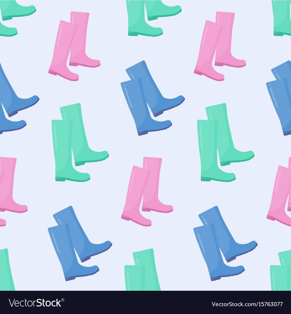 Wellington rain boots seamless pattern