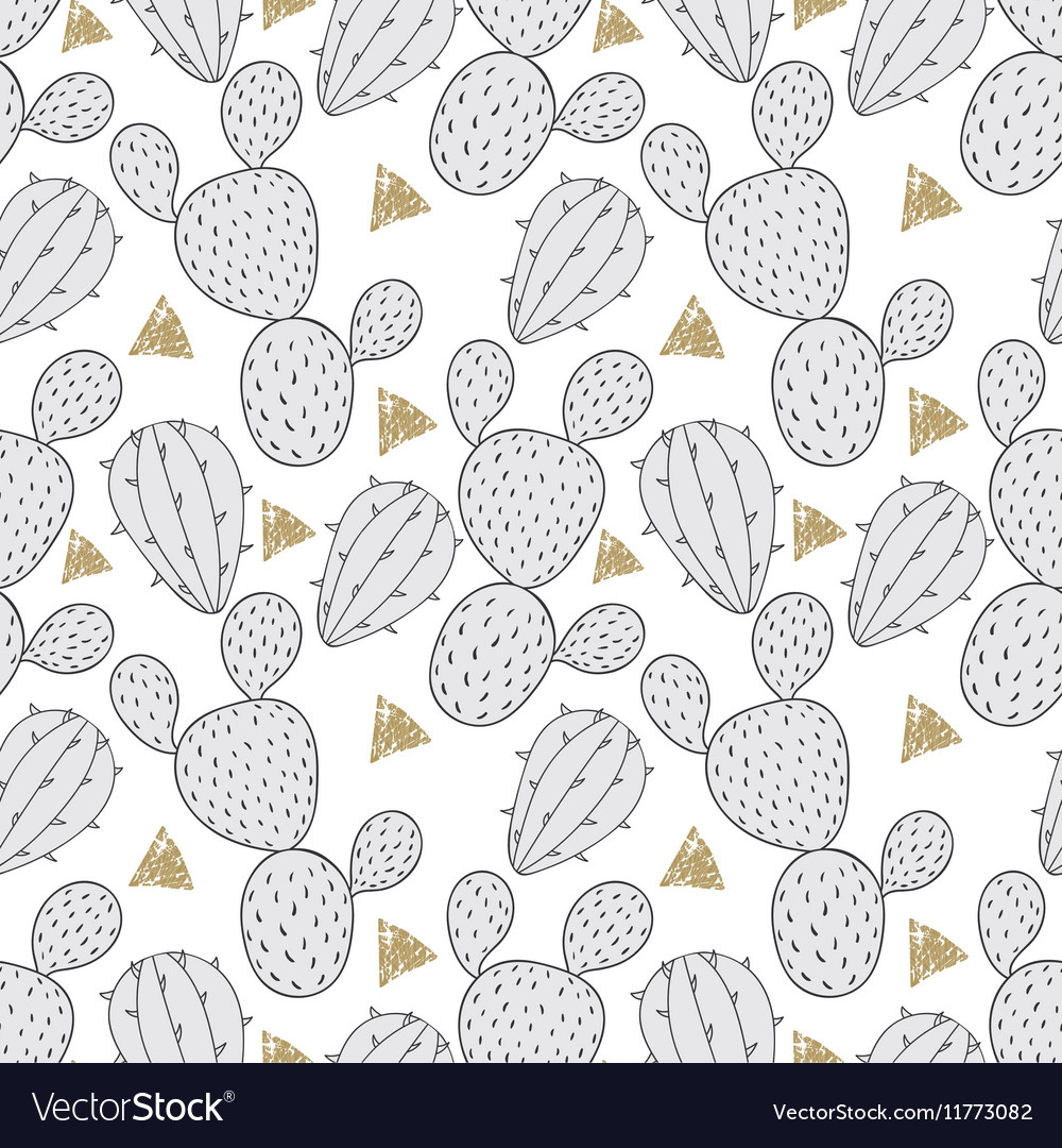 Cactus seamless pattern for fabric Hand drawn