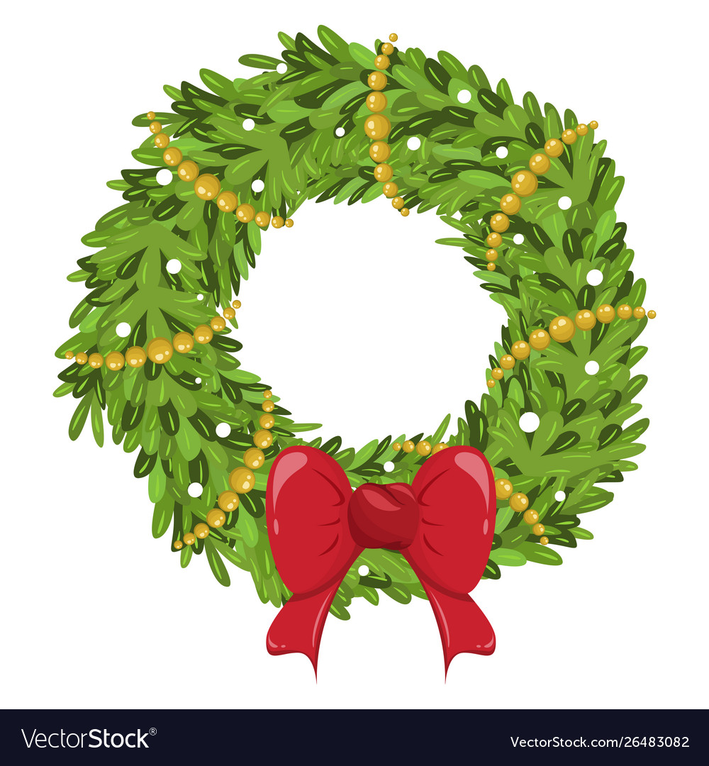 Christmas wreath decoration icon ornament for