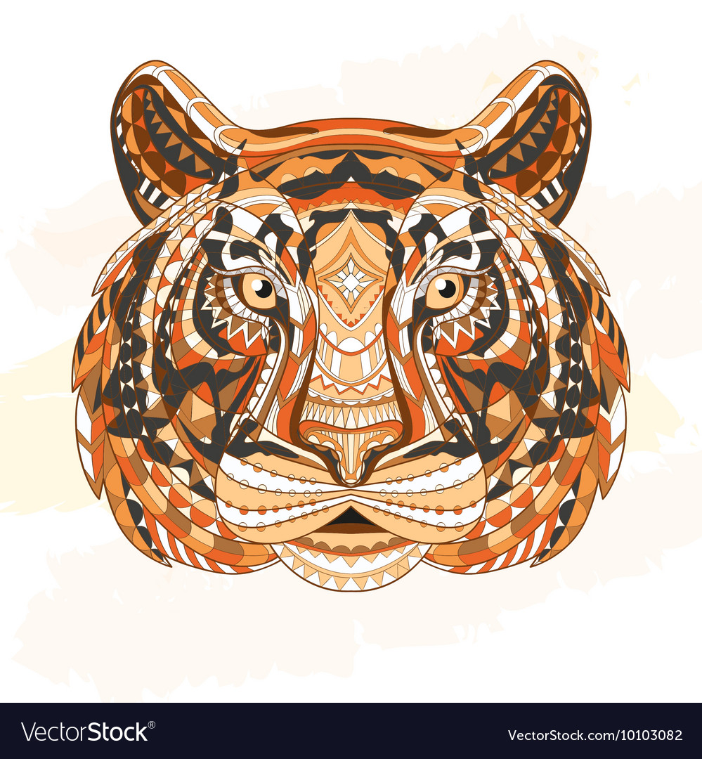 Detailed Patterned head of the tiger African
