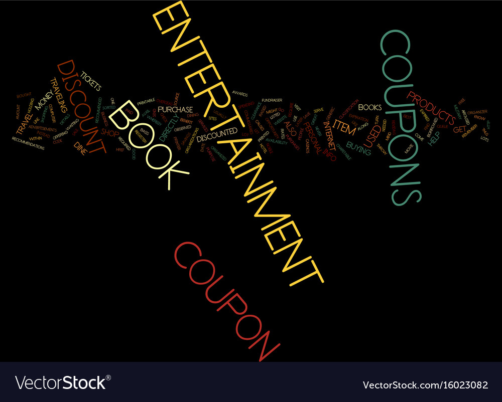 Entertainment book coupon text background word