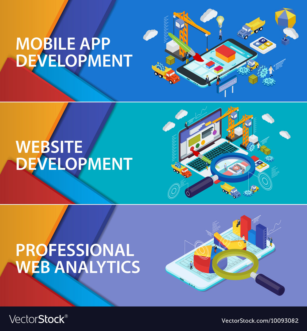 Flat 3d isometric smartphone and laptop vector image
