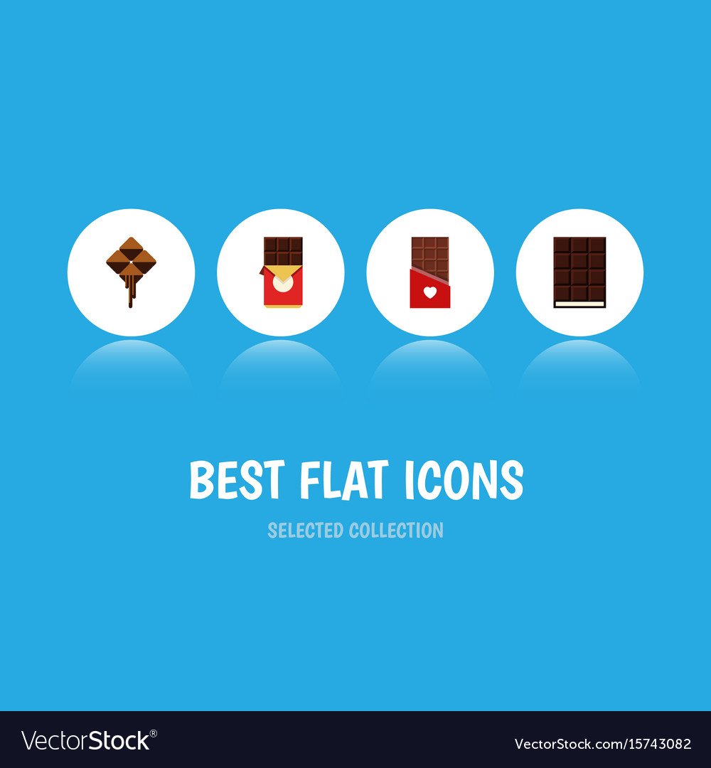 Flat icon chocolate set of dessert chocolate bar vector image
