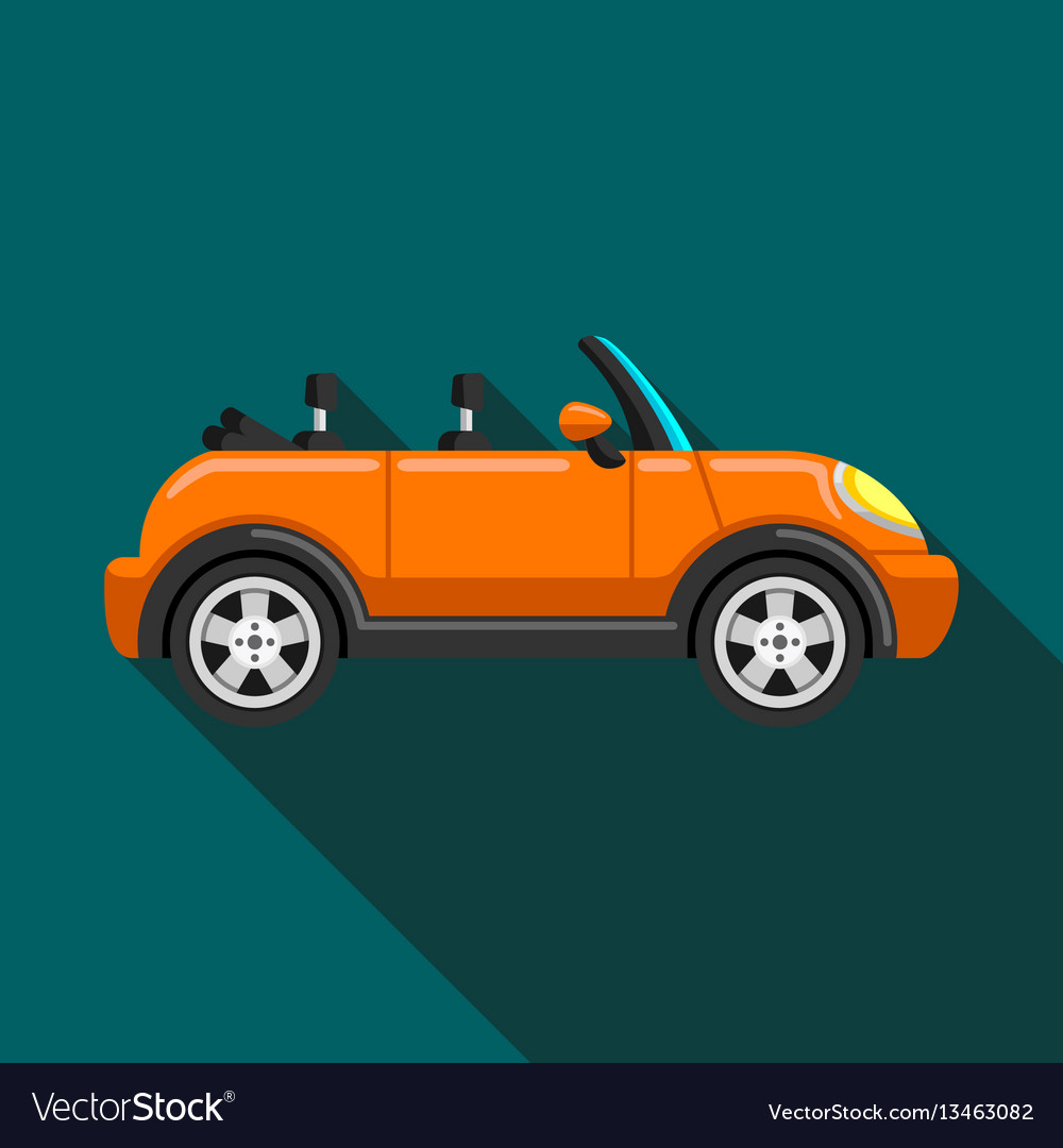 Flat icon convertible compact car with long shadow