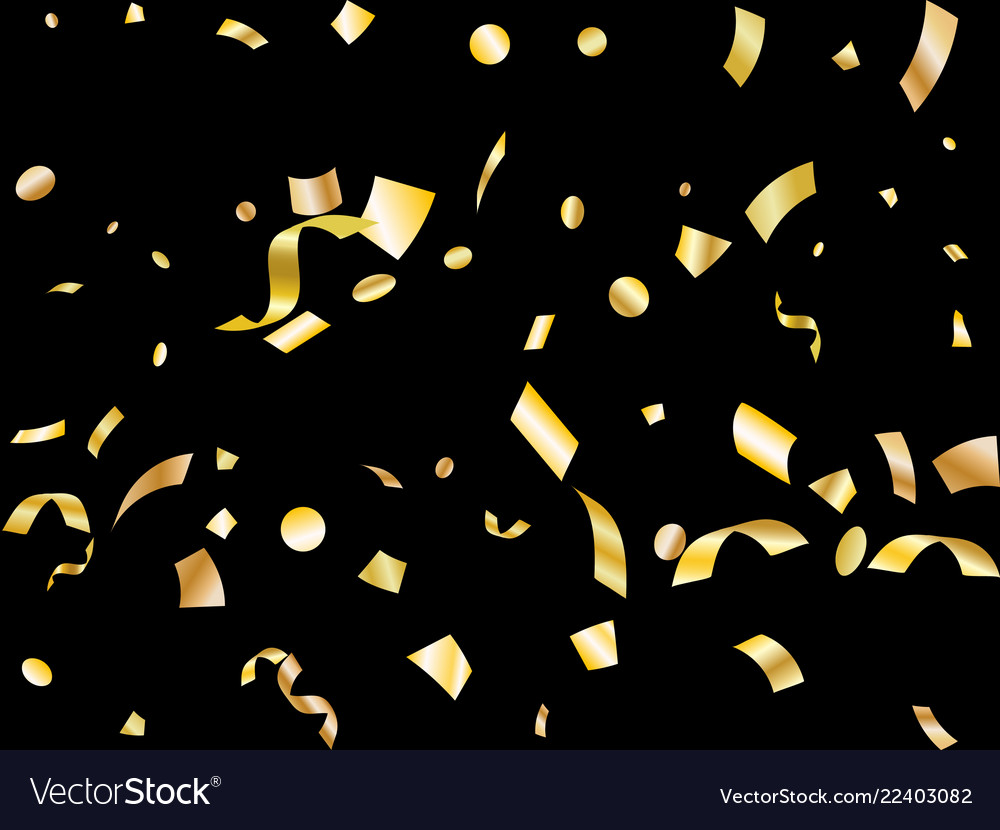 Golden on black foil holiday confetti flying