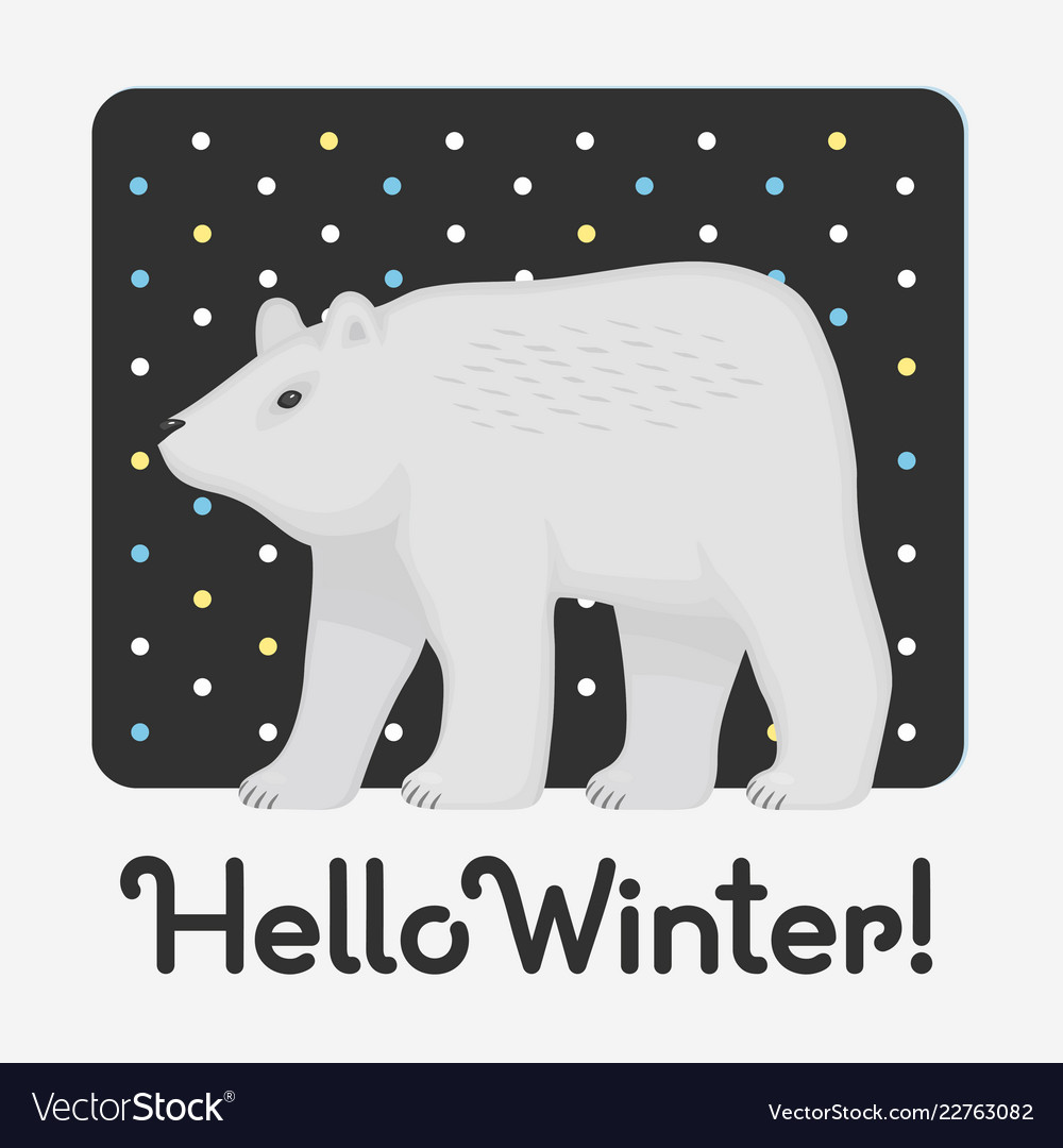Hello winter holiday card with an inscription with