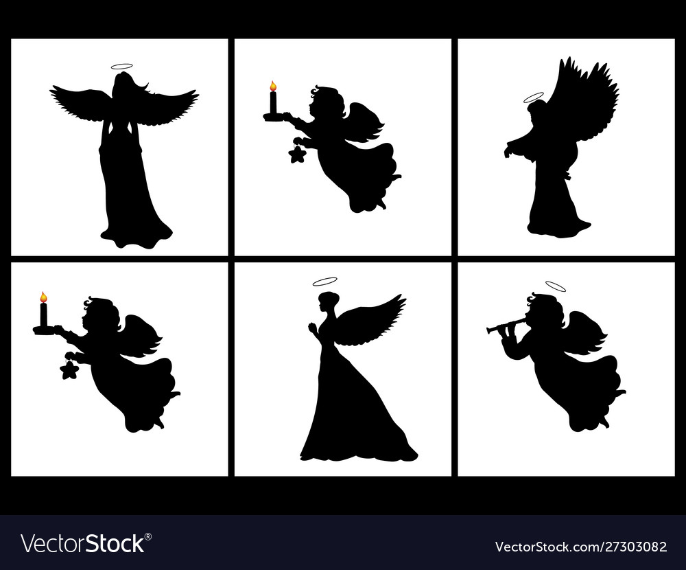 Holiday set silhouettes christmas angels