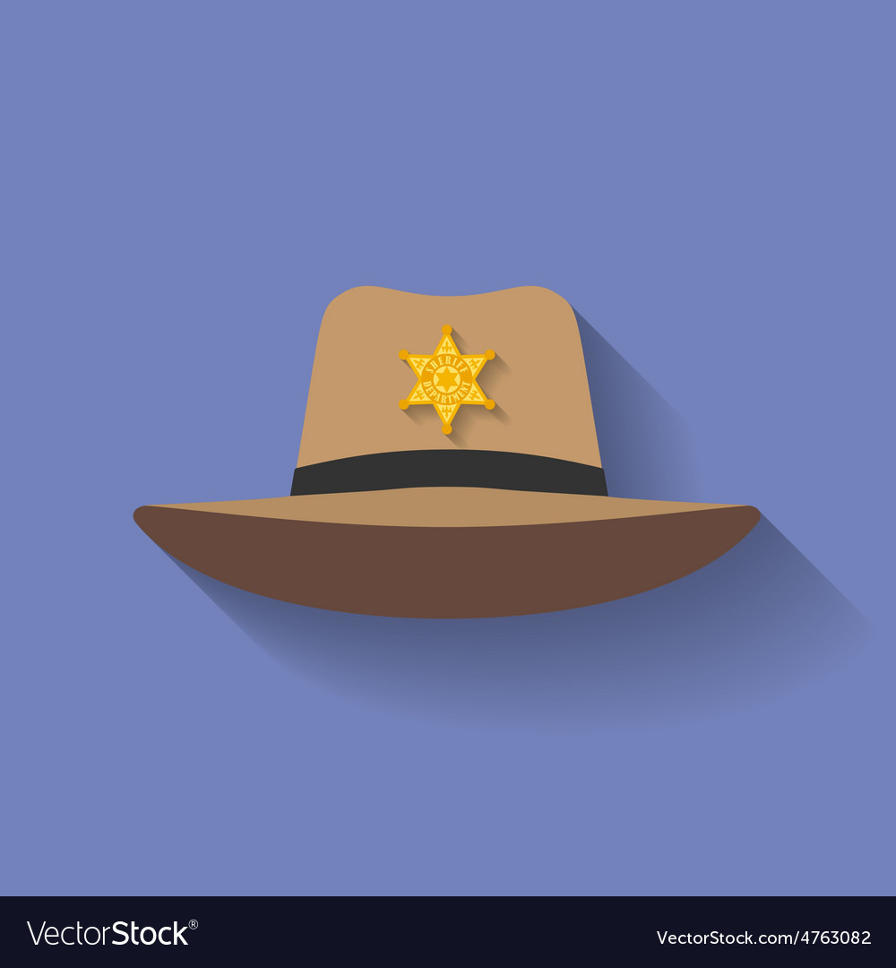 Icon of Sheriff hat Cowboy hat Flat style