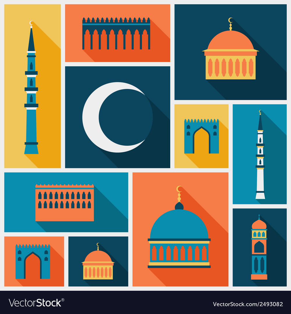 Islamic background with mosque in flat design