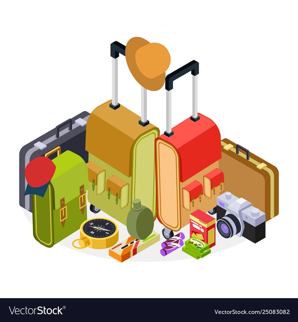 Isometric travel luggage