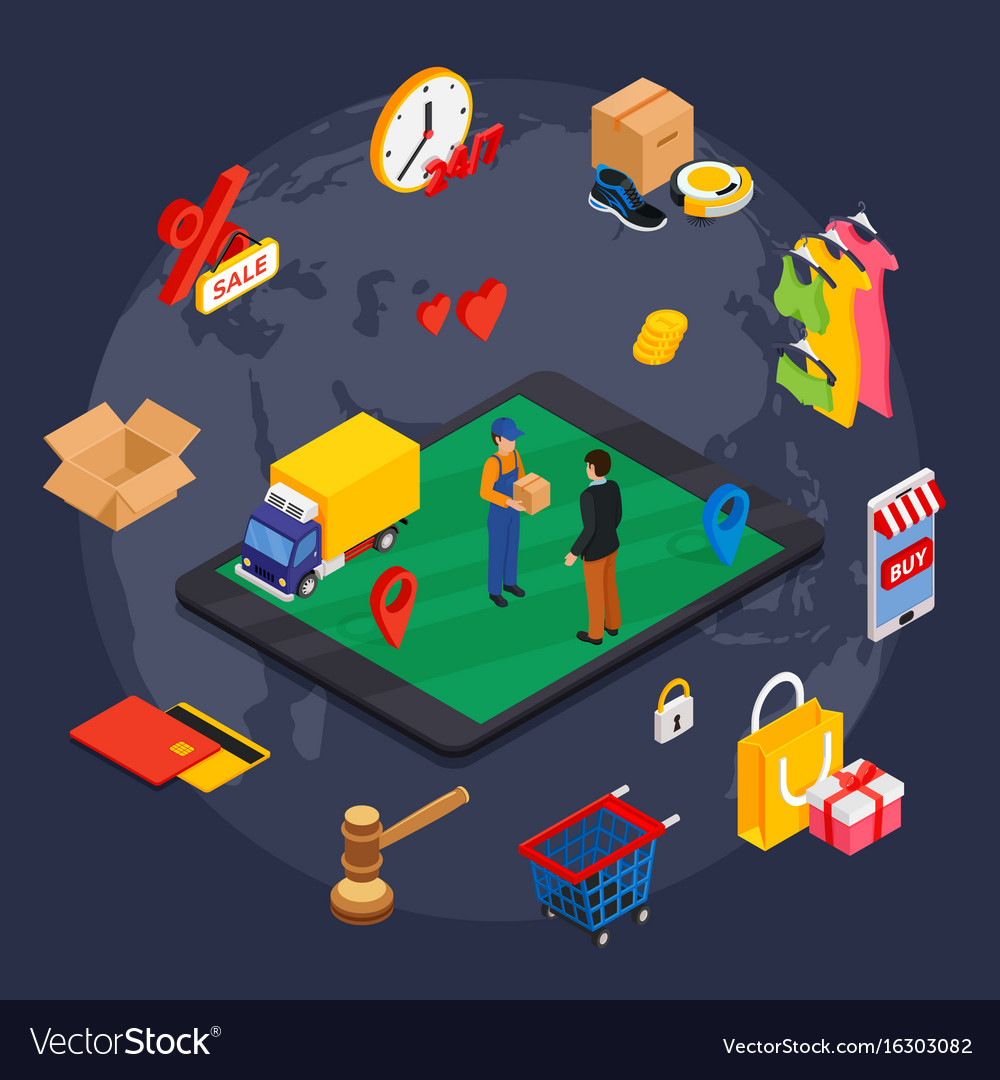 Online shopping isometric concept with related