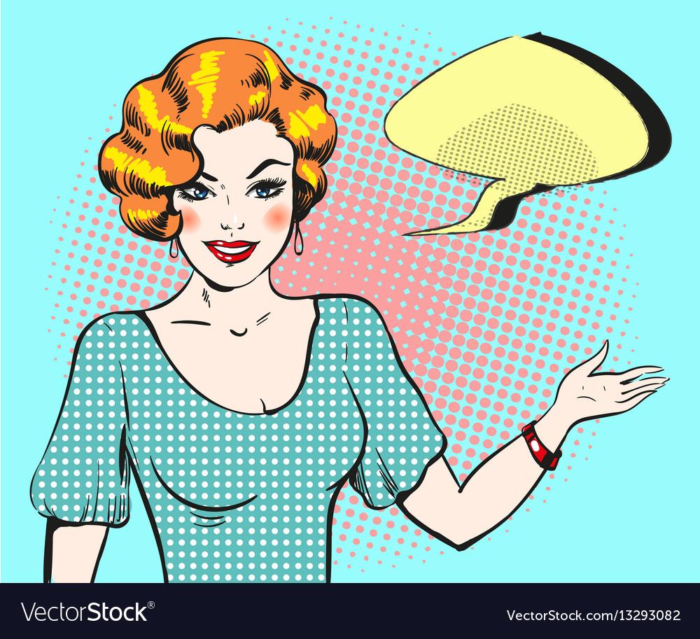 Pop art woman with speech bubble pin up retro