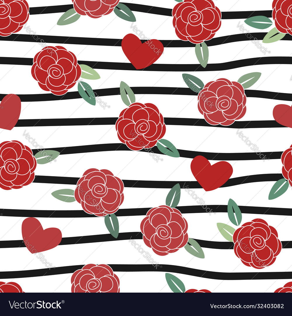 Red rose with heart on black stripe line seamless