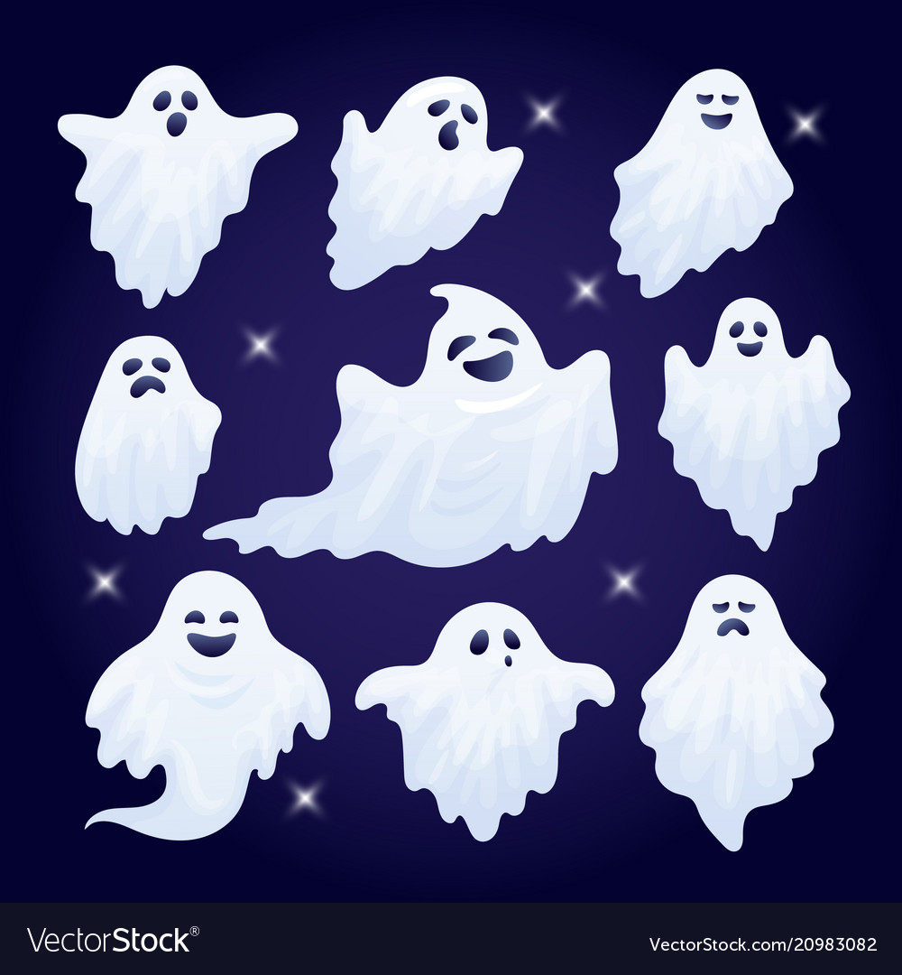 Set of funny halloween ghost characters