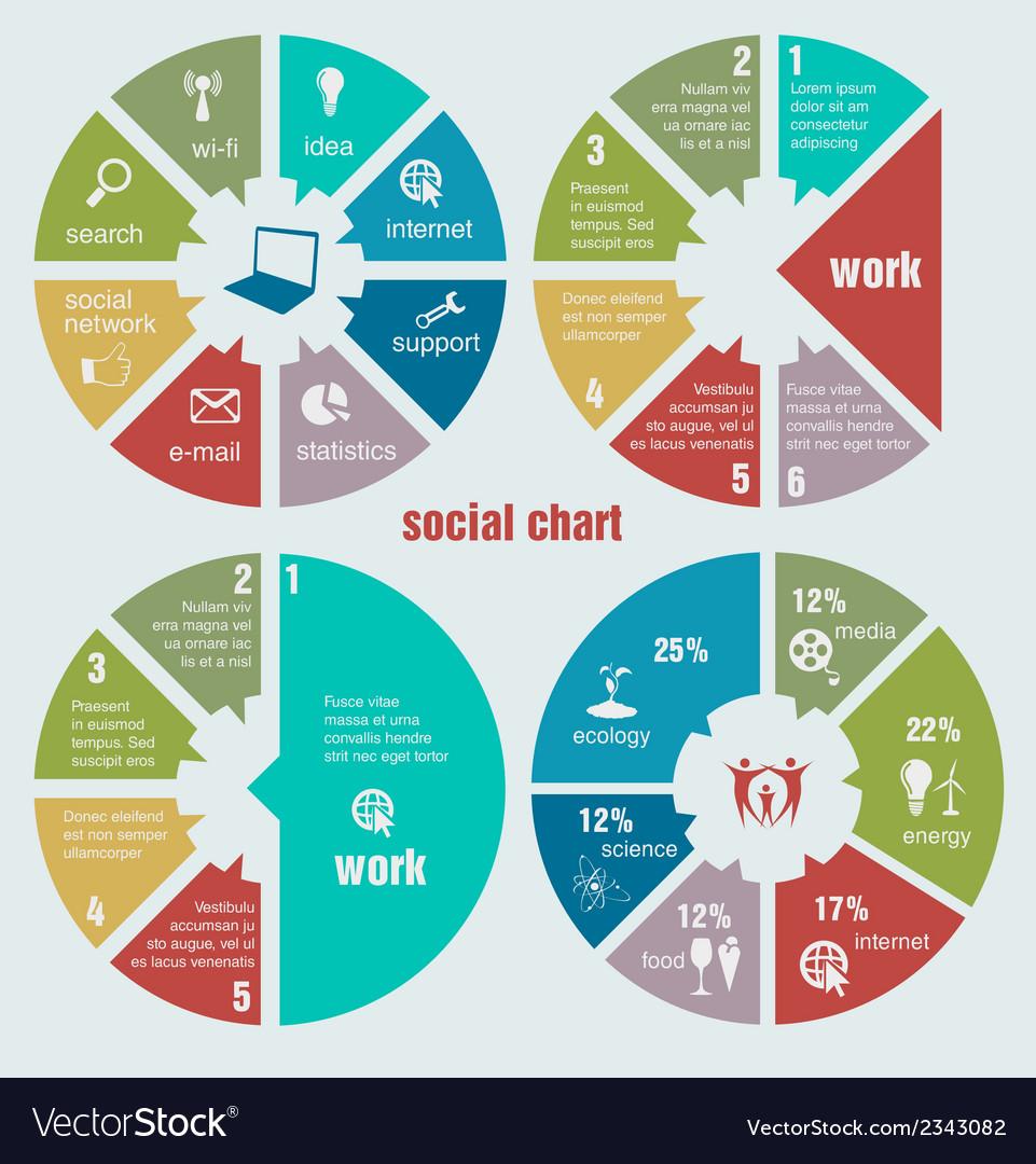 Social circular diagrams vector image