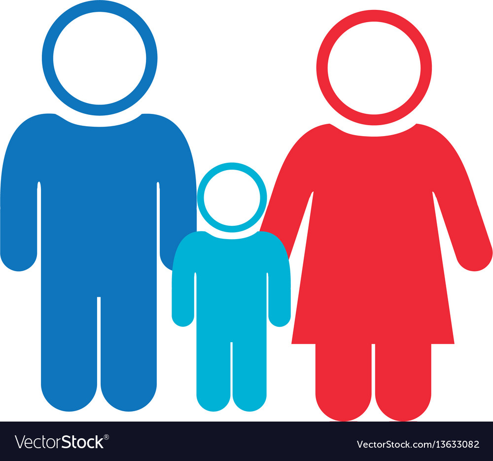 White background of pictogram with couple and son