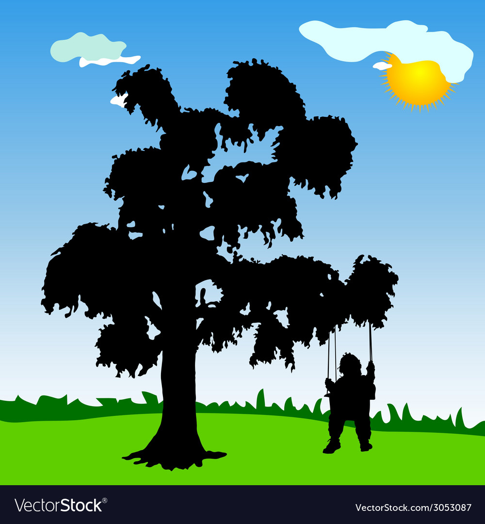 Baby on a swing with tree silhouette
