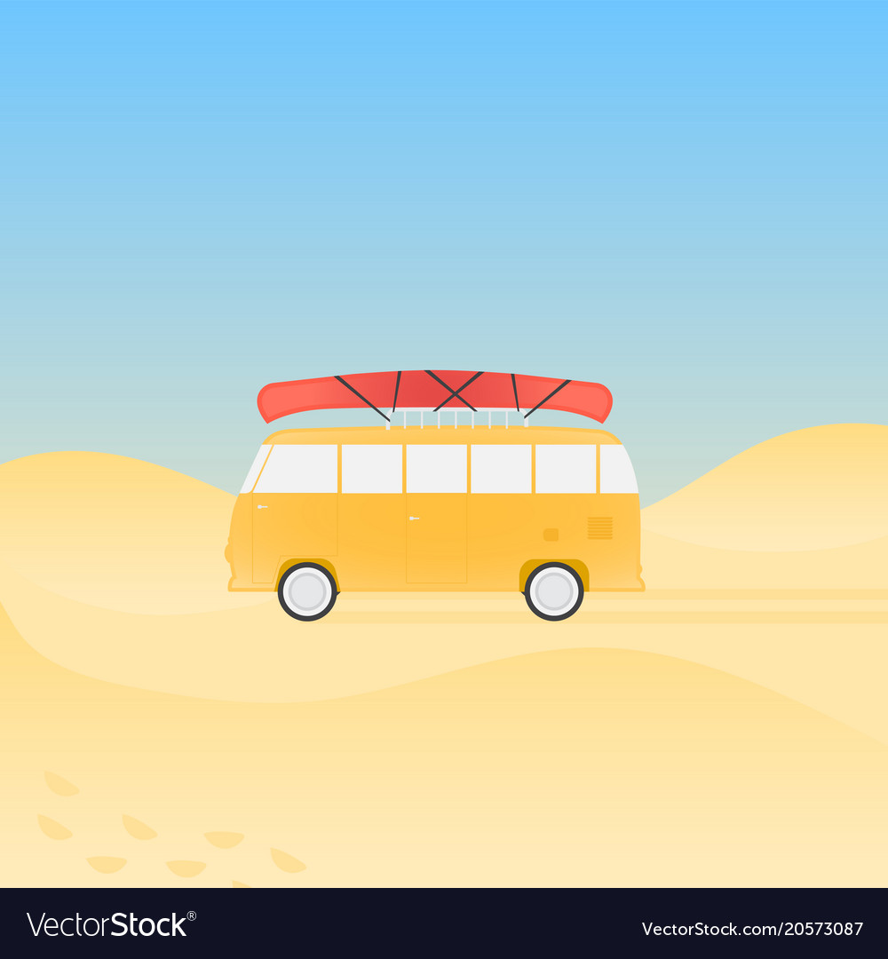 Bus for travel with canoe on the beach
