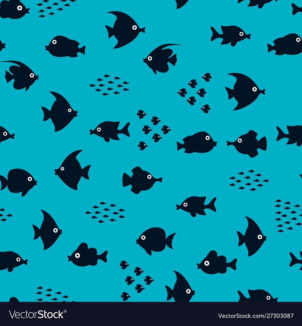 Cartoon fish silhouette pattern