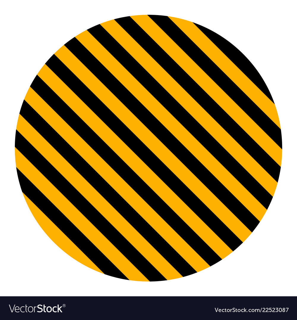 Circle Yellow Black Diagonal Stripes Safety Stripe Vector Image