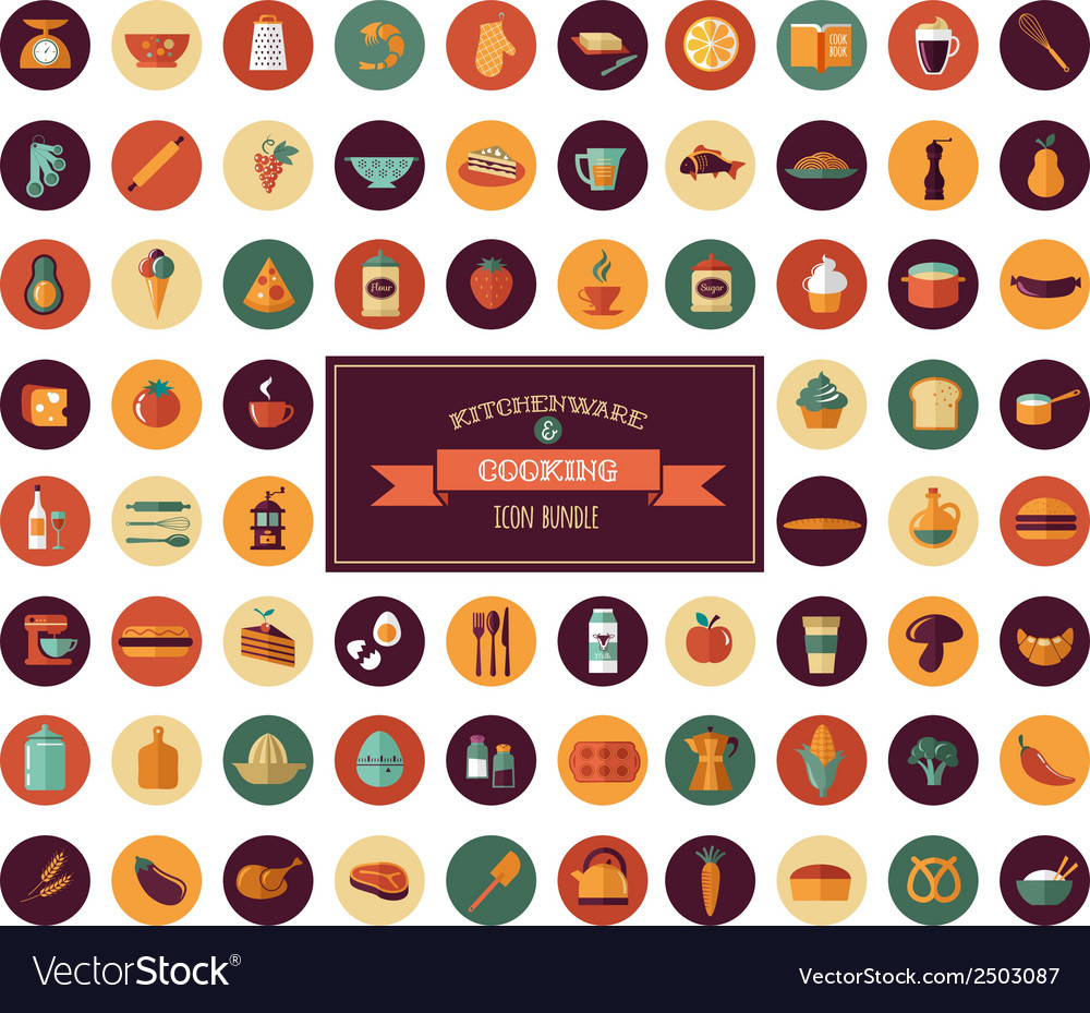 Cooking Backing flat icons Kitchenware elements vector image
