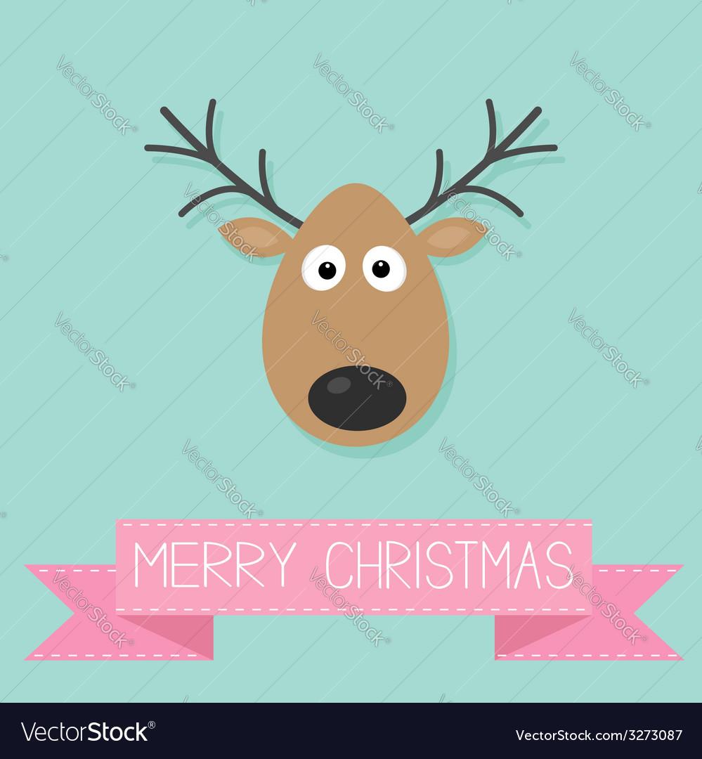 Cute cartoon deer with horn Merry christmas