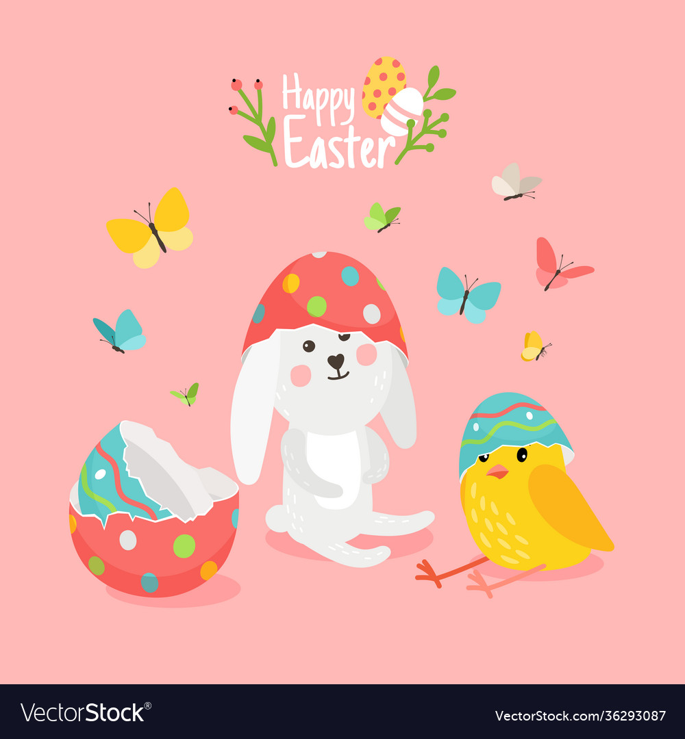 Cute easter card with pets