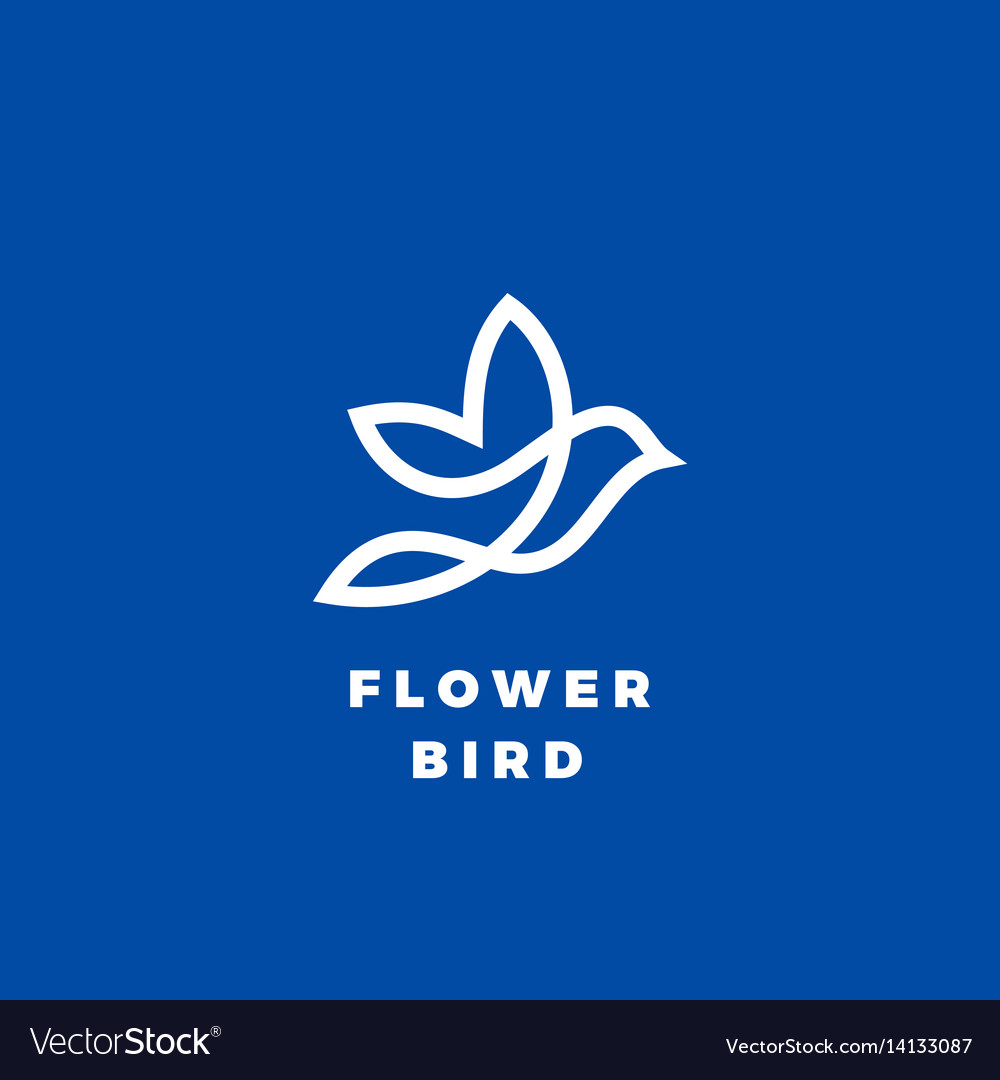 Flower bird abstract icon label or logo