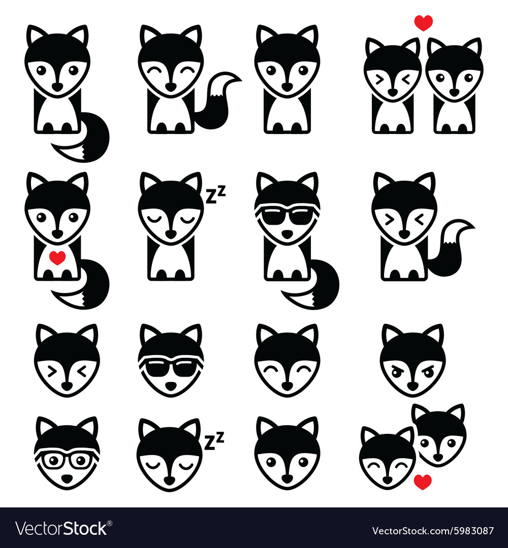 Fox cute character icons wildlife concept
