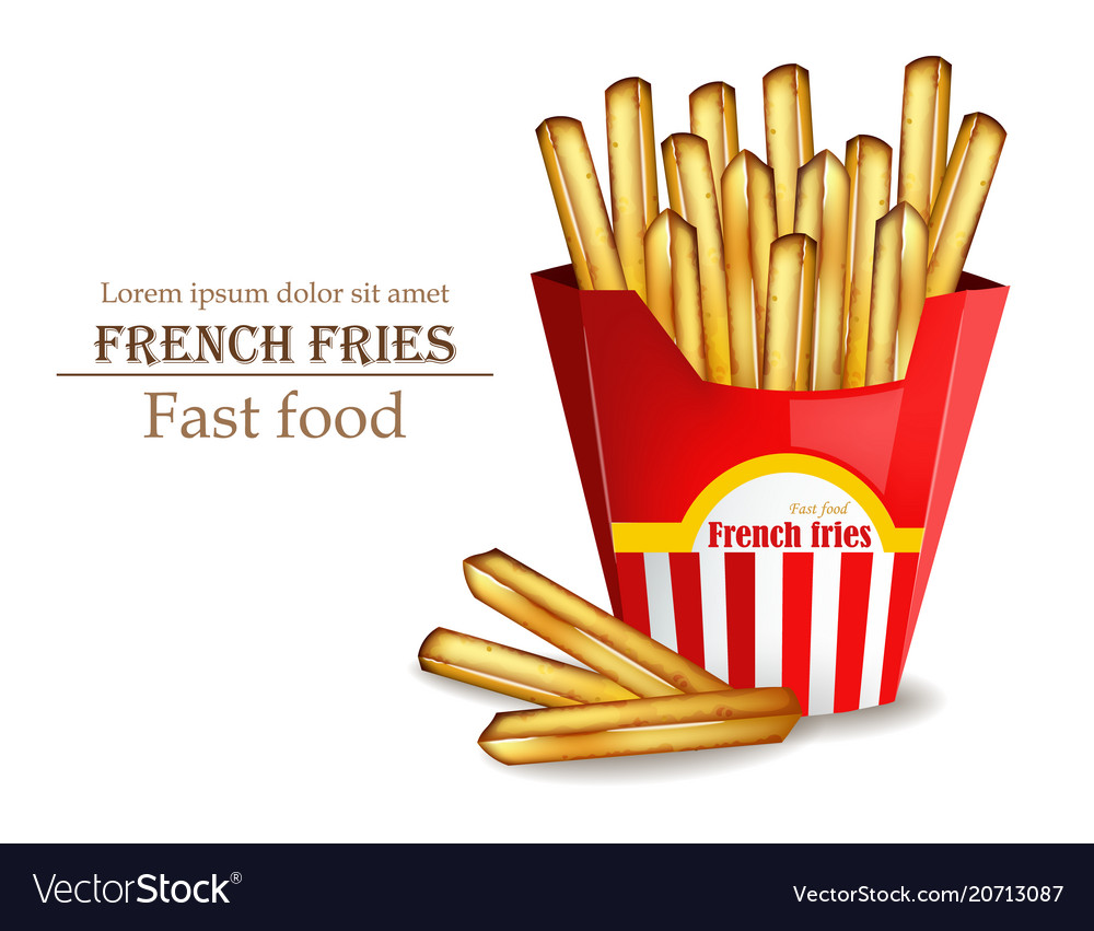 French fries realistic fast food template