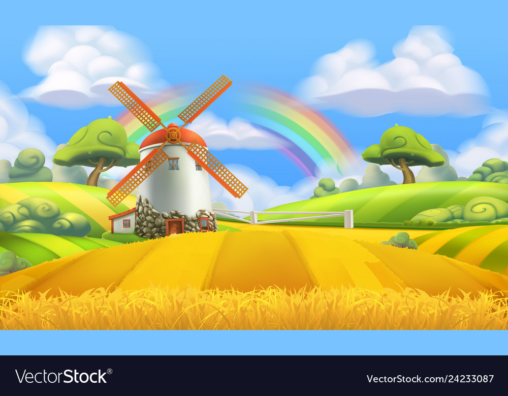 Nature landscape farm and mill 3d background Vector Image