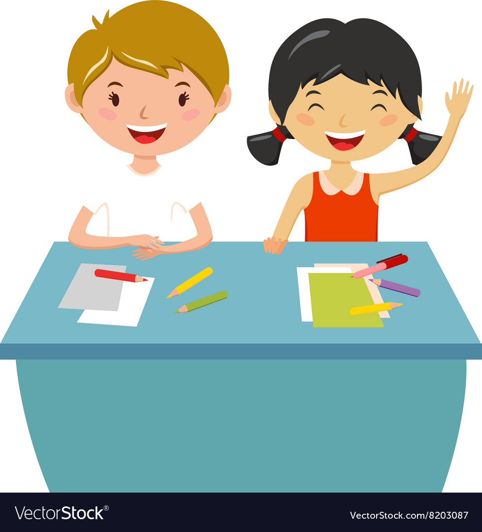 School Kids Education Elementary School Learning Vector Image