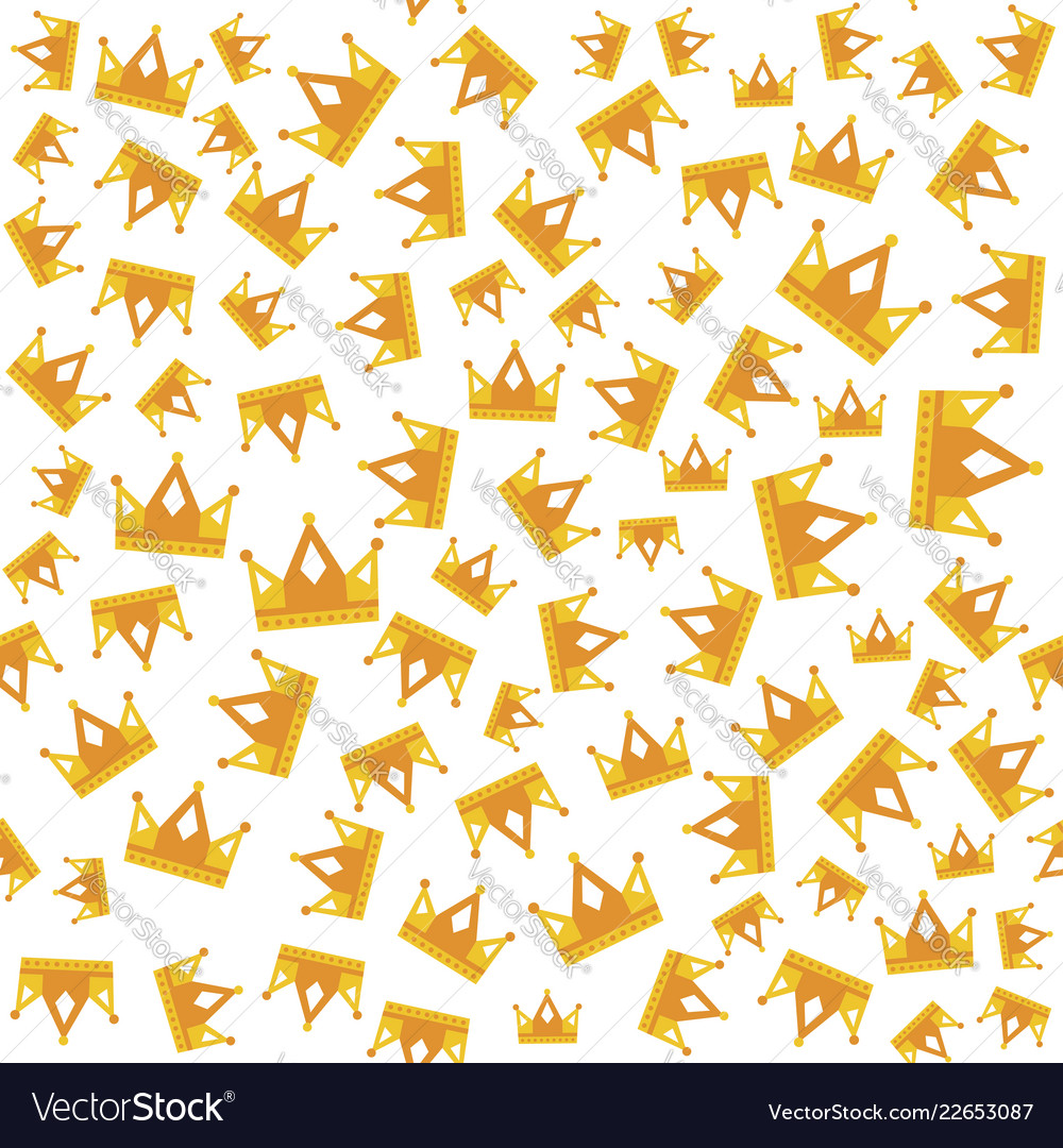 Seamless gold white crown pattern art background