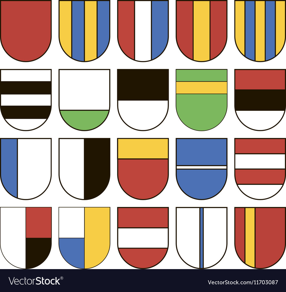Set of twenty different shields