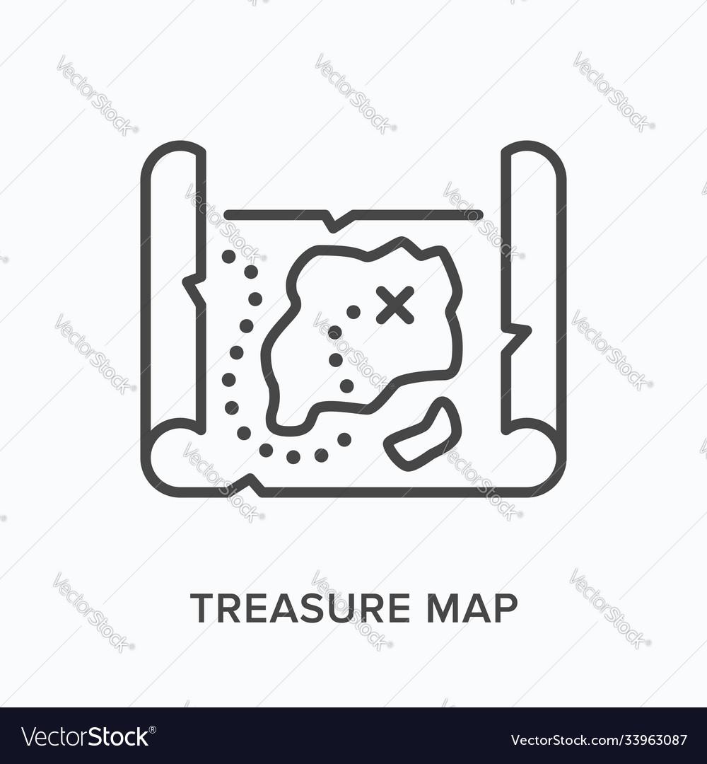 Treasure map flat line icon outline